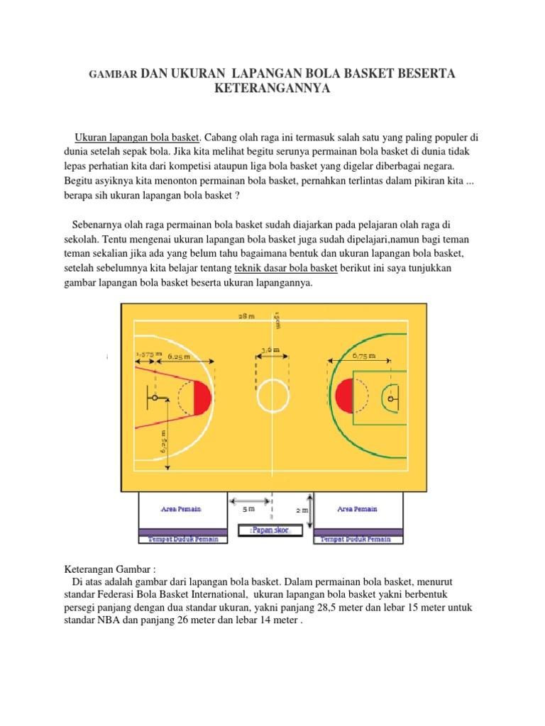 Gambar Lapangan Basket Beserta Ukuran Gambar Lapangan
