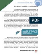 Organização Dos Trabalhos Na Faculdade - 2015