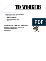 Wanted Workers
