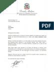 Carta de condolencias del presidente Danilo Medina a Lilian Bobea por fallecimiento de su madre, Liliana Castellanos viuda Bobea