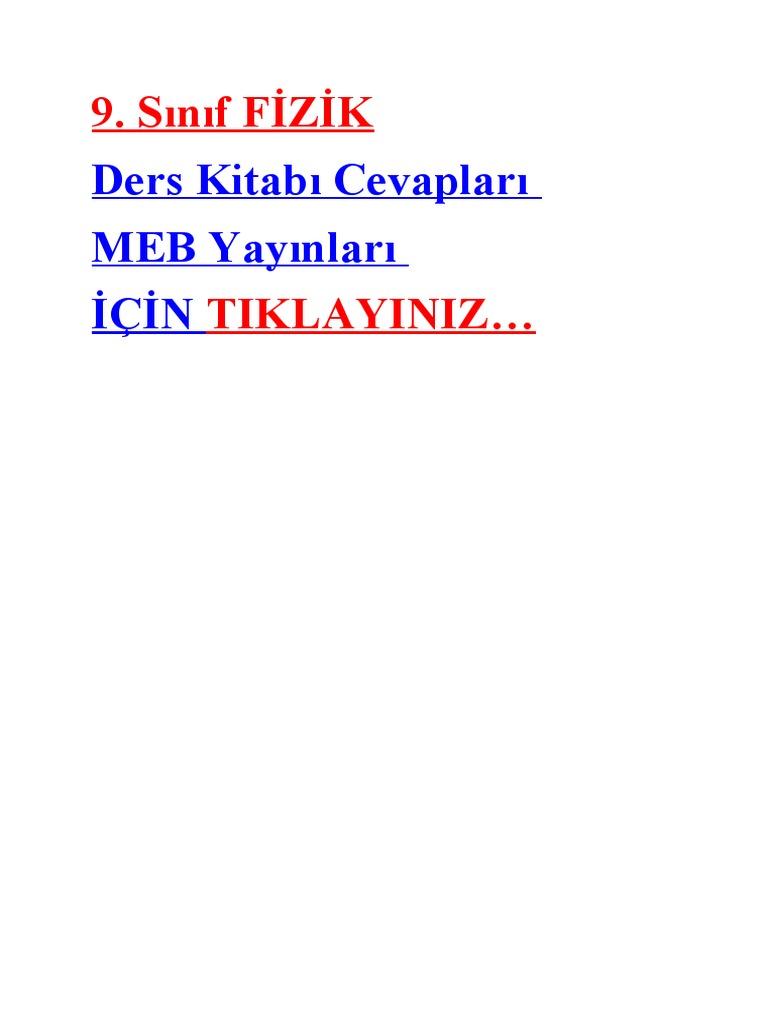 2018 2019 9 Sınıf Fizik Ders Kitabı Cevapları Tutku Yayınları