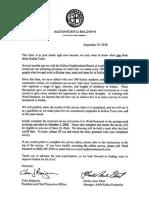 Alexandar and Baldwin Kailua Survey Letter