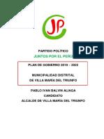 Plan de Gobierno Pablo Balvin Aliaga