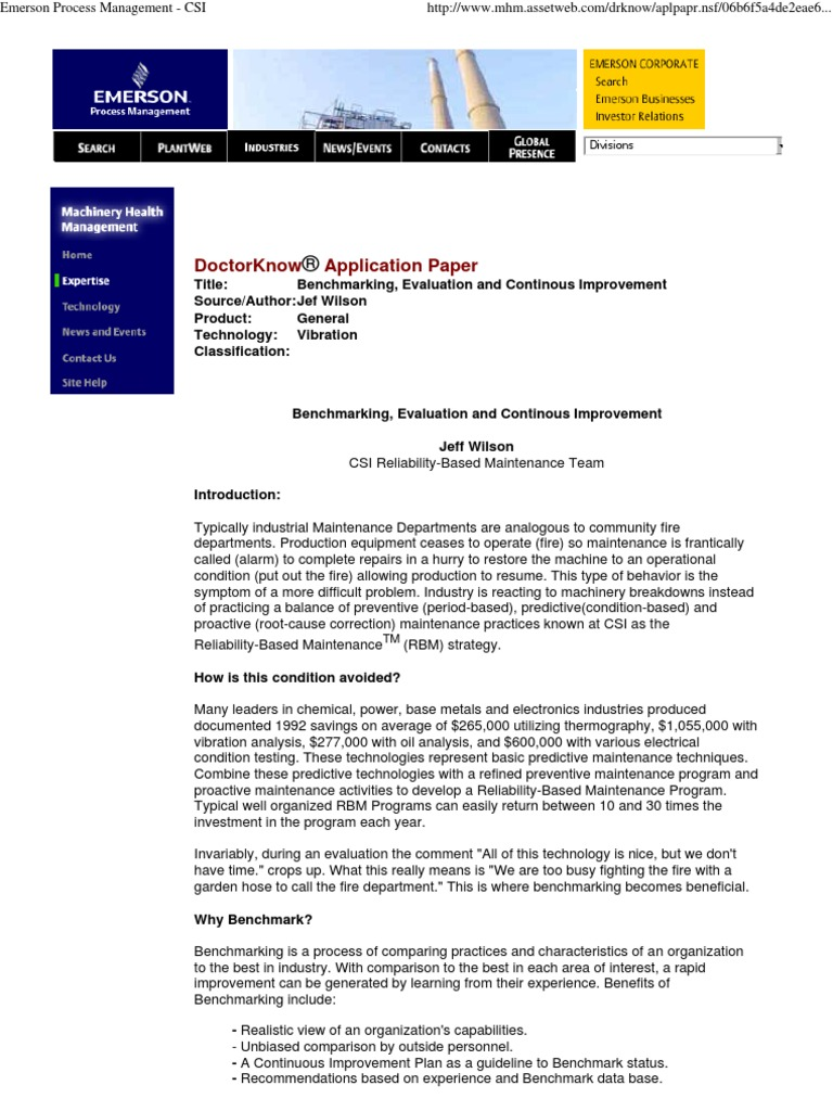 Emerson Process Management - Bench Marking, Evaluation and