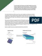 Sel Surya atau Solar Cell adalah suatu perangkat atau komponen yang dapat mengubah energi cahaya matahari menjadi energi listrik dengan menggunakan prinsip efek Photovoltaic.docx