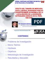 """""""Efecto del tamaño de mercado, costo laboral, la inversión pública en infraestructura e incertidumbre económica en la localización de la Inversión Extranjera Directa en Perú"""""""