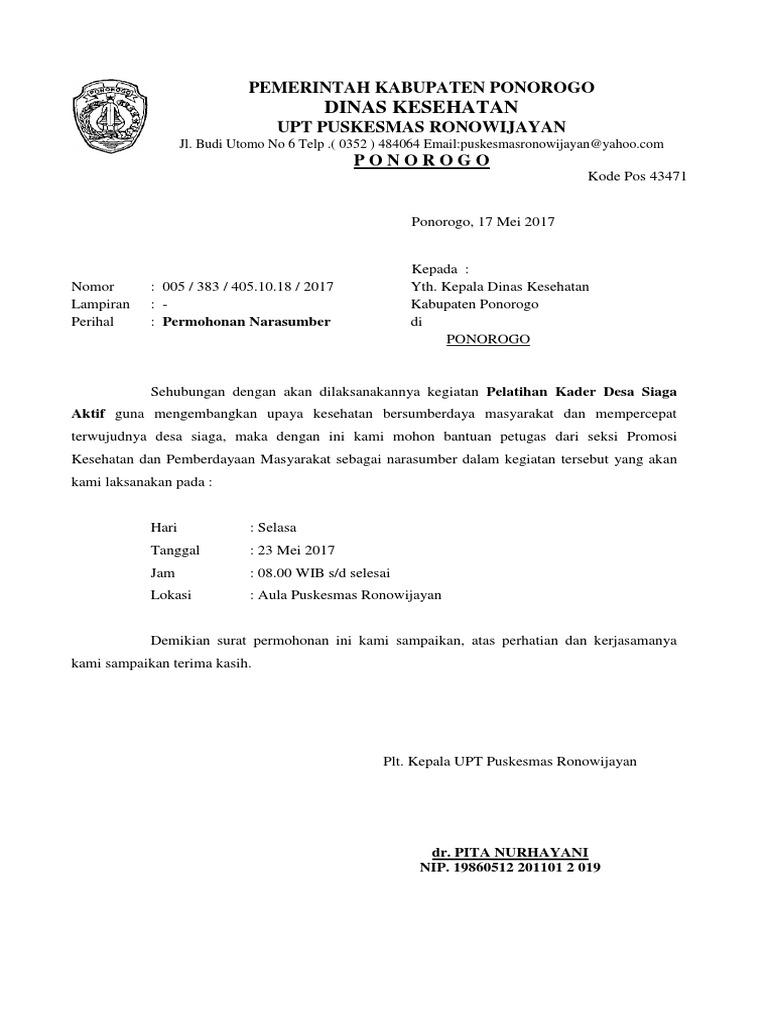 Surat Permohonan Narasumber Dinas