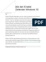 Cara Disable Dan Enable Windows Defender Windows 10