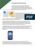 Kemasyhuran & Keberhasilan Produk Samsung