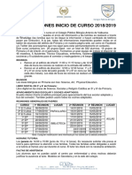 Informacion Familias Inicio de Curso 2018-2019