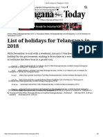 List of Holidays for Telangana in 2018