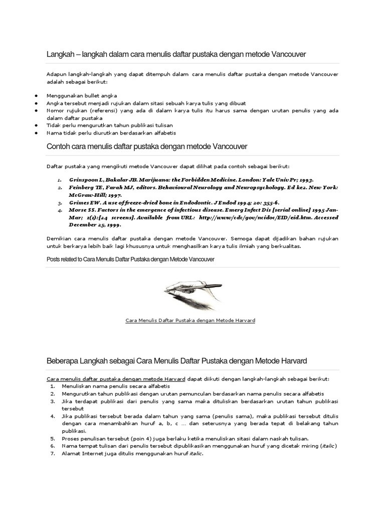 Langkah Penulisan Metode Vancouver Dan Havard Docx