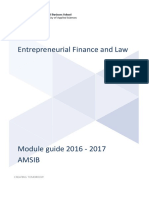 Entrepreneurship Finance and Law