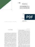 Starobinski Jean Textul Si Interpretul Frangmente