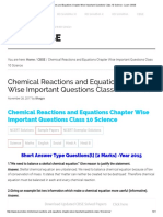 Chemical Reactions and Equations Chapter Wise Important Questions Class 10 Science - Learn CBSE