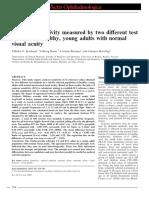 Contrast Sensitivity Measures by Two Diferent Test
