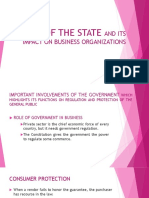 Role of the State and its Impact on Business Organizations