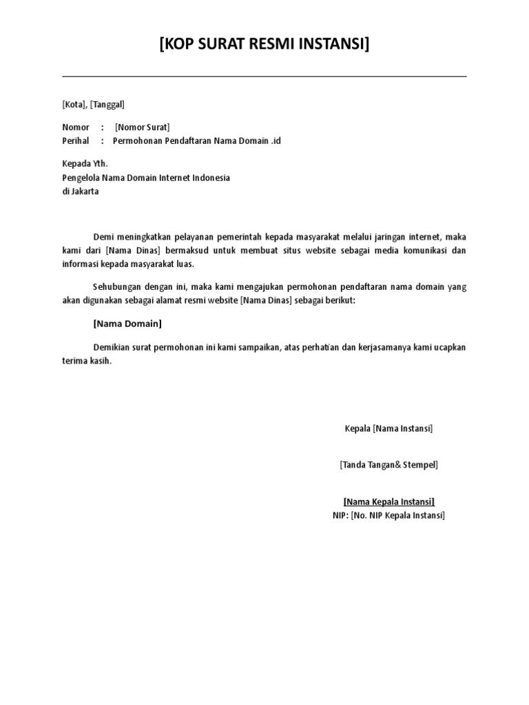 Contoh Surat Permohonan Dotid Doc