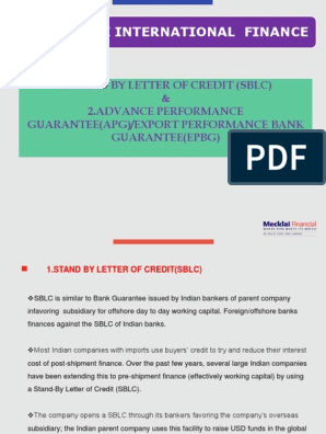 SBLC & ADVANCE PERFORMANCE GUARANTEE(APG) ppt | Letter Of
