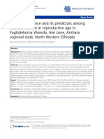 Domestic Violence and Its Predictors Among Married Women in Reproductive Age in Fagitalekoma Woreda, Awi Zone, Amhara Regional State, North Western Ethiopia