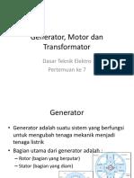 Pertemuan Ke 12 13 Generator Motor Dan Trafo