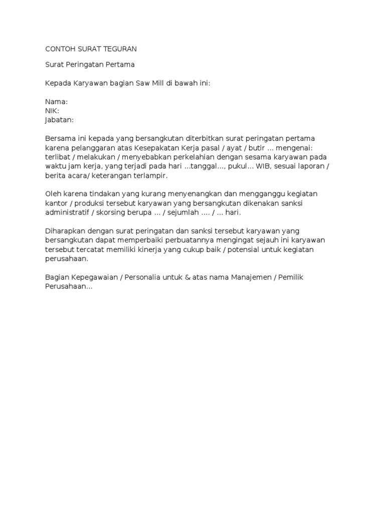 contoh surat teguran
