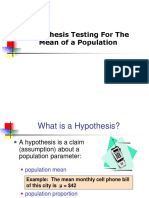 Vi Test of Hypothesis 1 on Mean