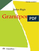 Julius Regis - Granitporten [ Prosa ] [1a Tryckta Utgåva 1924, Senaste Tryckta Utgåva 1941, 338 s. ]