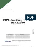 ET207 POSTE METALICO DE 6 m, PARA LUMINARIA PEATONAL
