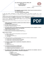 Español. Examen de Diagnostico Primer Grado