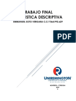TALLER DE ESTADÍSTICA DESCRIPTIVA APLICADA EN VARIABLES CUALITATIVAS Y CUANTITATIVAS
