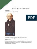 Personajes de La Independencia