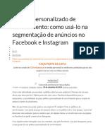 Perfil Segmentado FACEBOOK