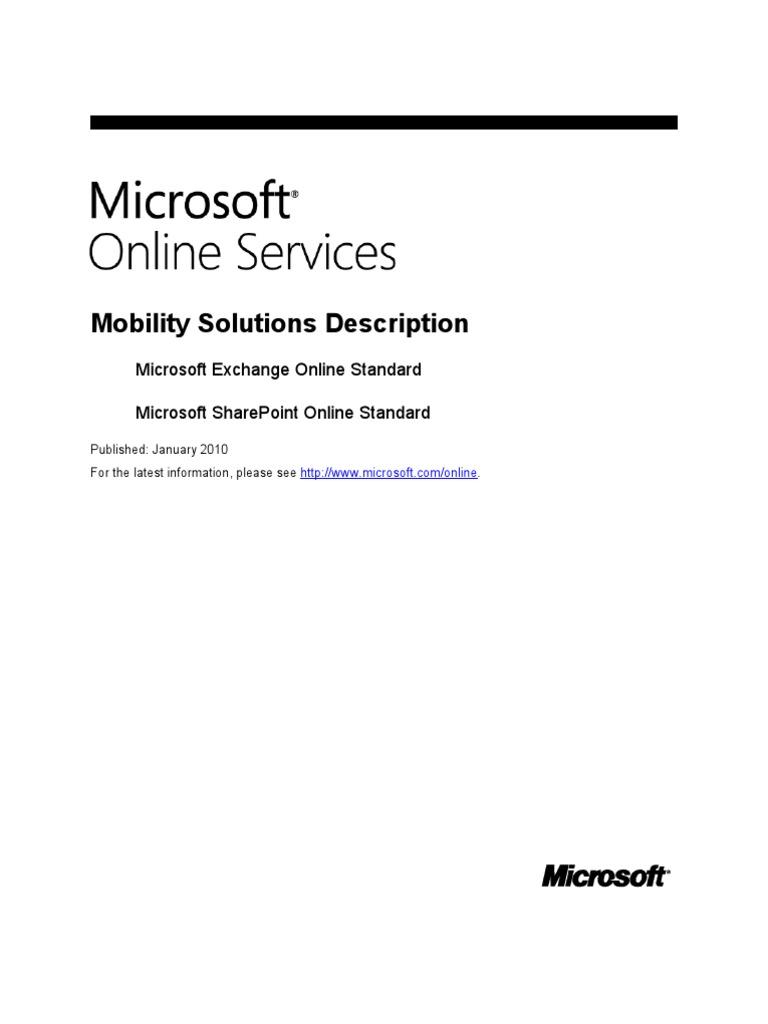 Microsoft Online Services Mobility Solutions Description