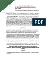 NOM-213-SSA1-2002, Productos y Servicios. Productos Cárnicos Procesados.