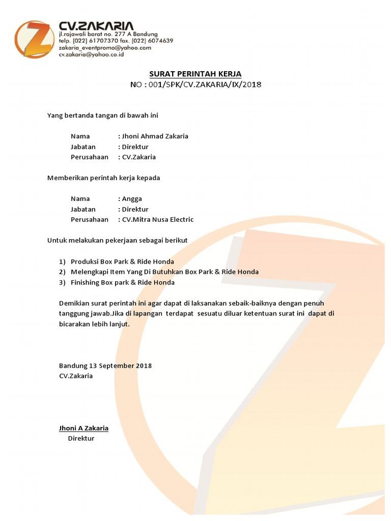 No 001spkcvzakariaix2018 Surat Perintah Kerja