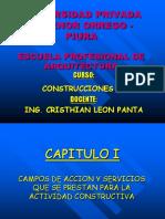 CAMPOS DE ACCIÓN Y SERVICIOS QUE SE PRESTAN PARA LA ENTIDAD CONSTRUCTIVA - ING CRISTHIAN LEON PANTA