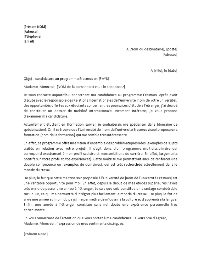 Exemple 1 Lettre De Motivation Erasmus 1