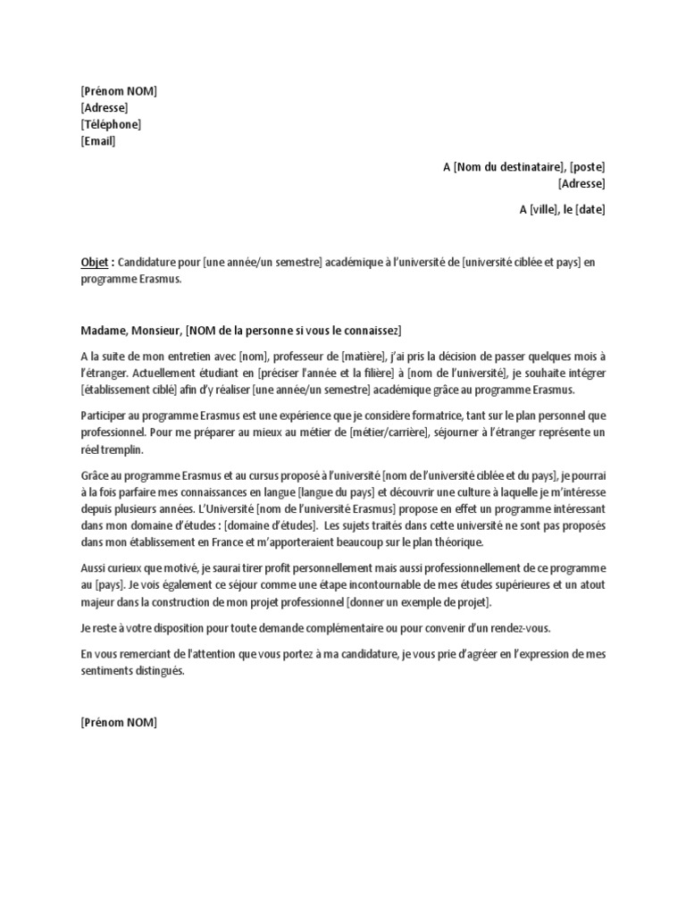 Exemple 2 Lettre De Motivation Erasmus 1