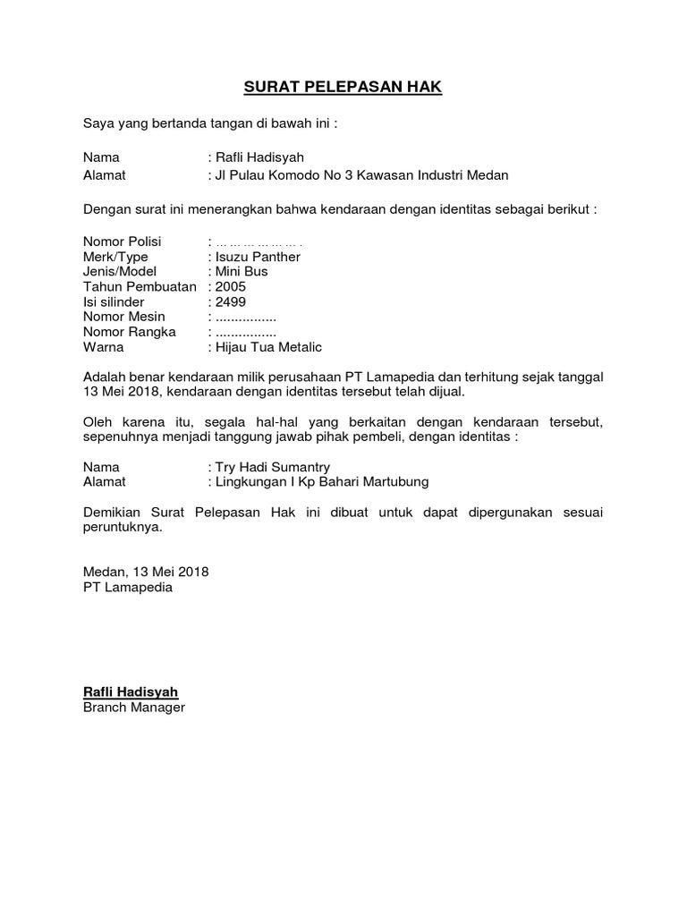 Contoh Surat Pelepasan Hak Jual Mobil Perusahaan