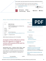 Analysis of the Influence of the Barrier Against a Range of Active and Passive RFID and Its Performance _ MATEC Web of Conferences