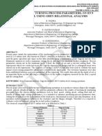 OPTIMIZATION OF TURNING PROCESS PARAMETERS, ON EN 9 CARBON STEEL USING GREY RELATIONAL ANALYSIS