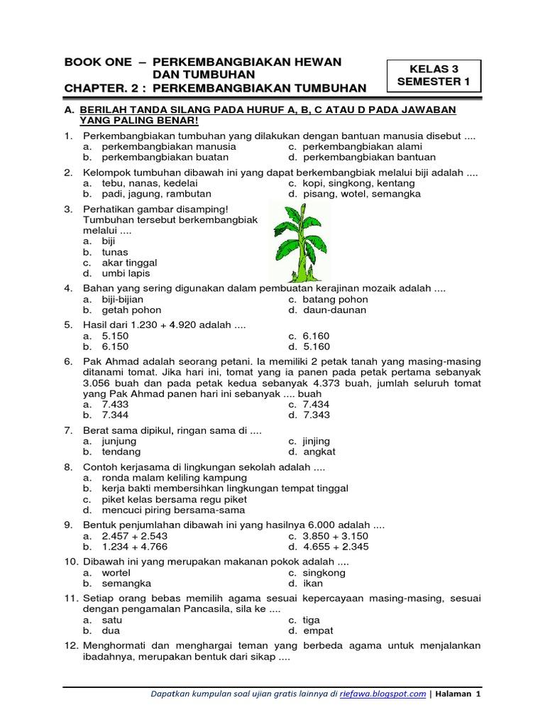 Soal Tema 1 Kelas 3 Perkembangbiakan Hewan Dan Tumbuhan Dll