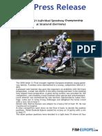 PR 251 2018 European U21 Individual Speedway Championship at Stralsund Germany