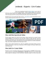 SBOBET Judi Sportsbook Esports Casino Online Terpercaya