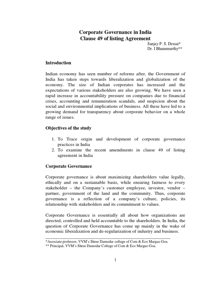Corporate Governance In India Clause 49 Of Listing Agreement