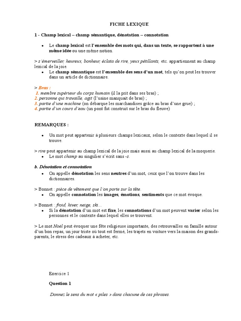 Fiche Lexique 1 Lexique Interpretation Philosophie