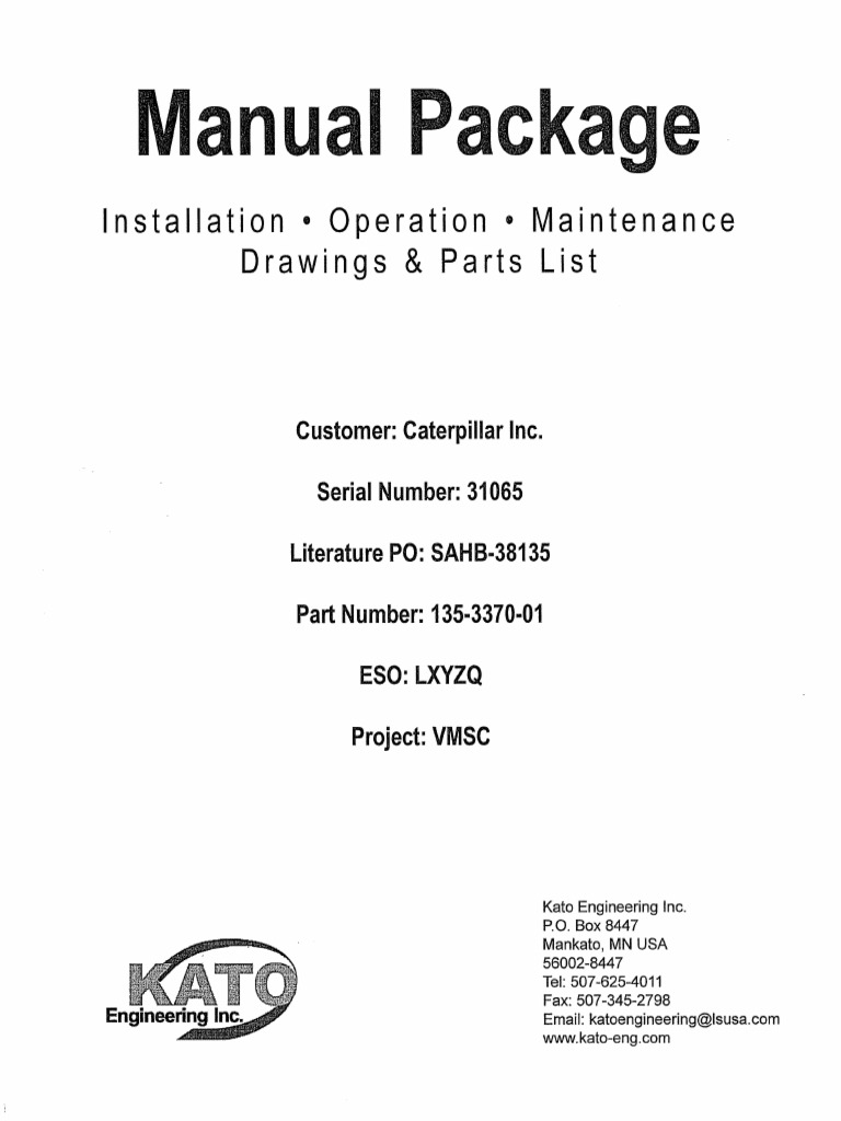 KATO GENERATOR MANUAL.pdf | Rectifier | Electric Generator on