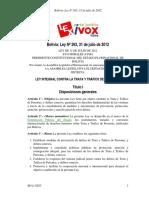 Bolivia Ley Nº 263 - 31 de Julio de 2012