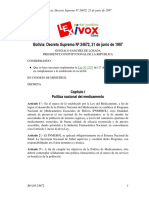 Bolivia Decreto Supremo Nº 24672 - 21 de Junio de 1997